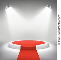 cerimonia, illuminato, festivo, scena, premio, podio, bianco, palcoscenico, moquette rossa