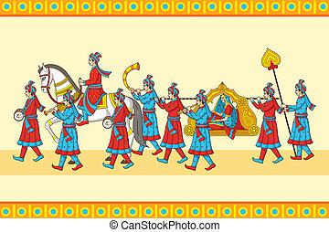 cerimonia, indiano, baraat, matrimonio
