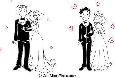 cerimonia, scarabocchiare, coppia, matrimonio