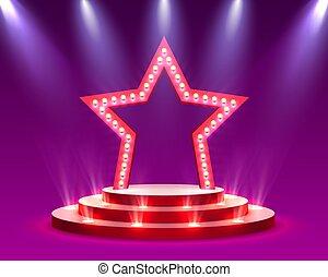 cerimonia, stella, scena, premio, illuminazione, podio, fondo, rosso, palcoscenico