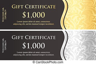 certificato, classico, regalo, decorazione, vittoriano, nero