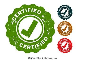 certificato, disegno, set, quattro, timbri gomma
