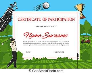 certificato, partecipazione, golf, torneo