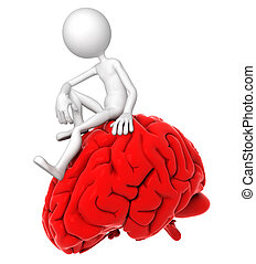 cervello, atteggiarsi, persona, pensieroso, seduta, rosso, 3d