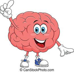 cervello, carino, carattere, cartone animato, pointi