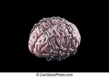cervello, libero, mente, chain., umano, tuo, concetto