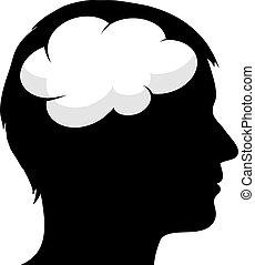cervello, maschio, silhouette