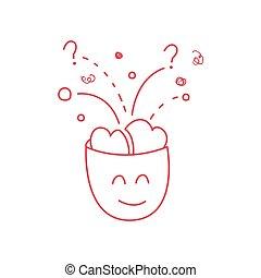 cervello, pieno, carattere, idee