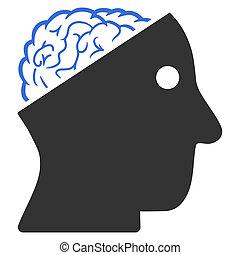 cervello, raster, aperto, icona