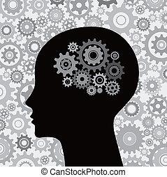 cervello, testa, ingranaggi, fondo