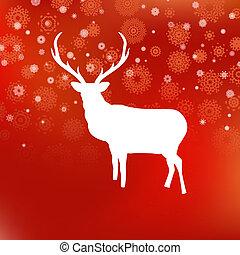 cervo, eps, fondo., 8, natale bianco, rosso
