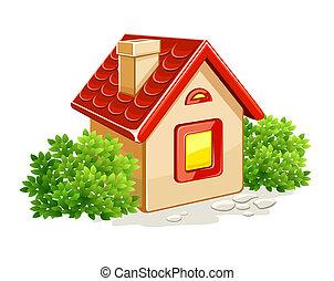 cespugli, casa, poco, verde, privato