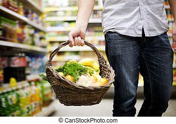 cesto, cibo sano, pieno