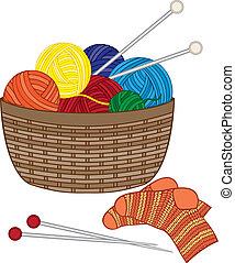 cesto, collegamento, lana, palle