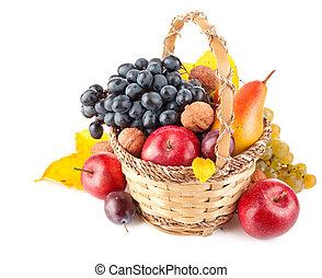 cesto, frutta, autunnale