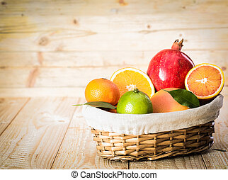 cesto, frutta fresca, delizioso, assortito