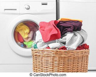 cesto, lavaggio, machine., bucato