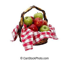 cesto, percorso, ritaglio, mela