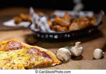 cesto, pollo, pub, bistro, pizza, rustico, ali, cibo