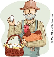 cesto, pollo, uomo, uova, contadino