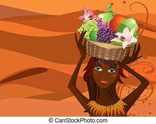 cesto, ritratto, frutta, nativo