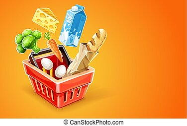 cesto, shopping alimento, organico