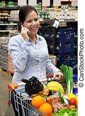 cesto, shopping donna, supermercato