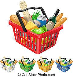 cesto, shopping, foods.