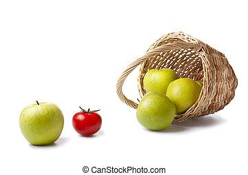 cesto, tela, mele
