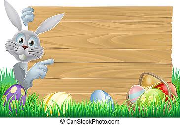 cesto, uova, coniglietto pasqua, segno