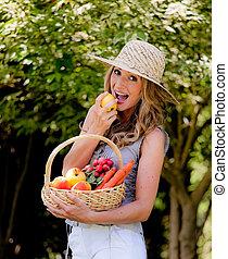 cesto, verdura, suo, frutta, moglie