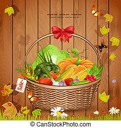 cesto, verdure fresche, disegno, tuo
