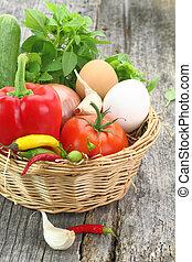 cesto, verdure fresche, vimine
