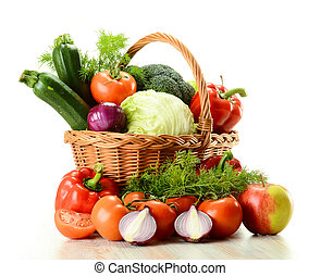 cesto, vimine, verdura