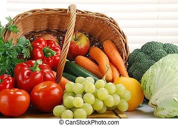 cesto, vimine, verdura, composizione, crudo