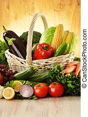 cesto, vimine, verdura, frutte