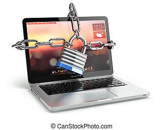 chain., laptop, serratura, concept., computer, sicurezza, tastiera, sicurezza, o