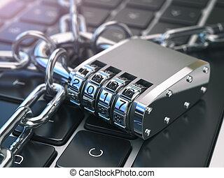 chain., sicurezza, concept., serratura, laptop, sicurezza, tastiera, .computer, 2017, parola accesso, o
