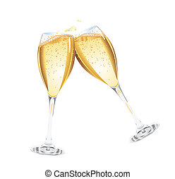 champagne, due, occhiali