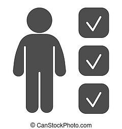 checkbox, icon., persona, web, stile, pictogram, prova, graphics., concetto, candidato, mobile, solido, personalità, revisione, pennarello, forma, bianco, design., vettore, fondo., domanda, glyph
