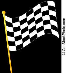 checkered, bandierina ondeggiamento