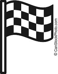 checkered, contorno, flag., isolato, ondeggiare, fondo., bandiera, fine, nero, linea bianca, icona