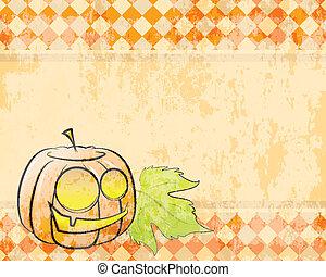 checkered, halloween, vettore, fondo, decorare, zucca