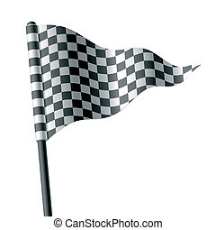 checkered, triangolare, bandierina ondeggiamento