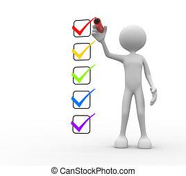 checklist., persone, -, uomo persona, 3d