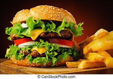 cheeseburger, frigge, francese