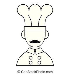 chef, baffi, cartone animato