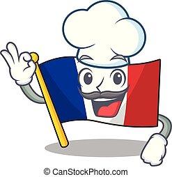 chef, bandiera, mascotte, isolato, francia