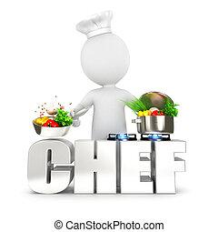chef, bianco, 3d, persone