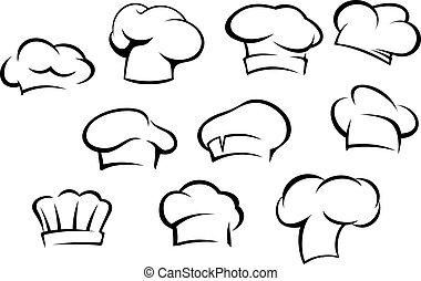 chef, bianco, cappelli, cappucci